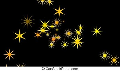 Retro orange and yellow stars continuously shoot towards the screen.