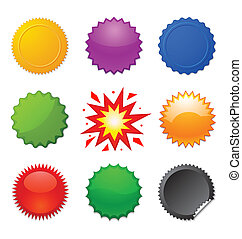 set of colorful starburst symbols for design