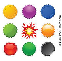 starburst seals - set of colorful starburst symbols for...