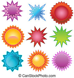 starburst set bright isolated on a white background.