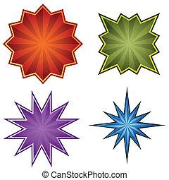 Starburst Set - Starburst set isolated on a white...