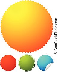 Starburst shapes, badges. Colorful price tags, price flashes w/ blank space.