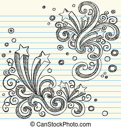 Back to School Style Doodle of Starbursts with Swirls- Sketchy Notebook Doodles Vector Illustration Design Elements on Lined Sketchbook Paper