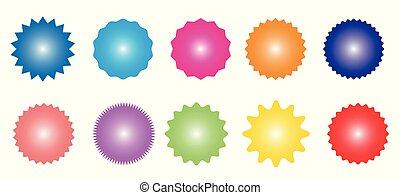 starburst, sticker., ensemble, icônes, étiquette, sunburst, insignes