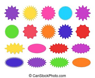 Starburst sticker set - collection of colorful special offer sale round and oval sunburst labels and buttons.