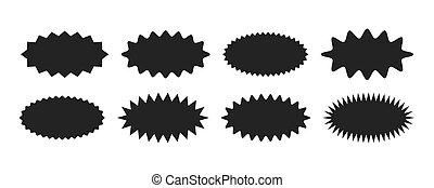 Starburst sticker set - collection of special offer sale oval sunburst labels and badges.