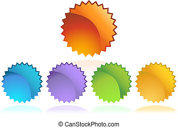 starburst sticker set isolated on a white background image.