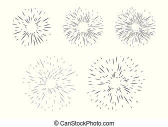 Starburst, sunburst, abstract explosion, fireworks of geometric random lines. Vector black design elements isolated on light background.