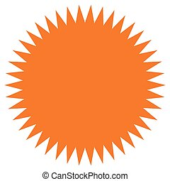 Starburst, sunburst shape. Flat price tag, price flash icon