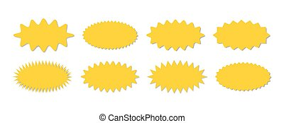 Starburst yellow sticker set - collection of special offer sale oval shaped sunburst labels and badges.