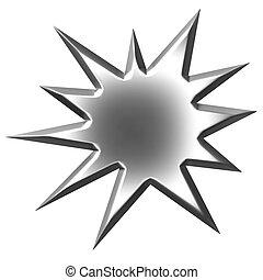 starburst, zilver, 3d