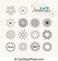 starburst/light, raios, feito à mão, elementos