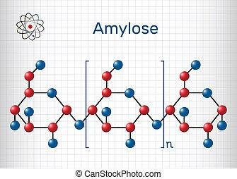 starch., él, papel, model., fórmula, hoja, estructural, molecule., amylose, dos, jaula, químico, polysaccharide, uno, molécula, componentes