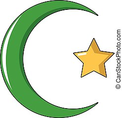Star,crescent symbol of islam icon, cartoon style -...