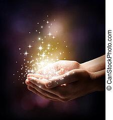 stardust, magisches, dein, hände