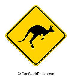 stare attento, segno, traffico, canguro, etichetta