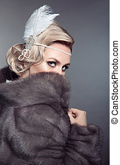 stare., bellezza, moda, retro, donna, in, blu, visone, pelliccia, coat., bello, lusso, inverno, clothes., vendemmia, style.