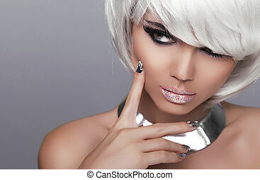 Stare. Fashion Blond Girl. Beauty Portrait Sexy Woman. White Short Hair. Isolated on Grey Background. Face Close-up. Hairstyle. Fringe. Vogue Style.