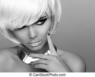 Stare. Fashion Blond Girl. Beauty Portrait Woman. White Short Hair. Isolated on Grey Background. Black and white photo.