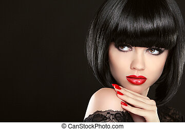Stare. Fashion model girl face, beauty woman make up and red...