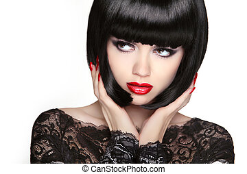 Stare. Fashion model girl face, beauty woman makeup and Bob blac