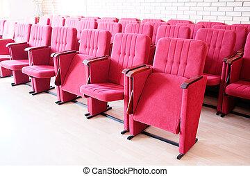 stare in piedi, rosso, recliners, file