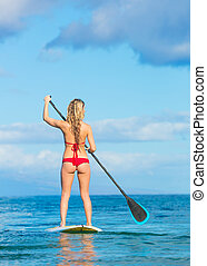 stare in piedi, surfing, hawai, pagaia, su