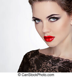 stare., makeup., retro, senhora, com, olhos azuis, closeup,...