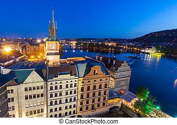 stare miasto, baszta, -, staromestska, vodarna, w, praga, czeski, republic., vltava rzeka, w nocy
