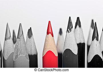 stare piedi, penna, fondo, bianco fuori, rosso