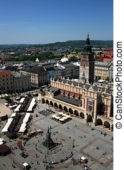 Stare Rynek Krakow - Old Main square, market and clock tower...