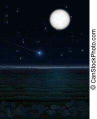 starfall, nuit, paysage, lune