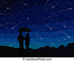 starfall., sous, silhouette, tomber, stars., parapluie, ...
