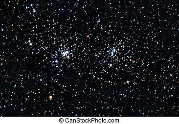 starfield., een, dubbel, sterretjes, groep