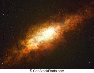 starfield., manière, galaxie, laiteux