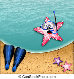 starfish, 由于, 水下通气管, 面罩