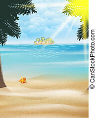 Starfish and palm trees on the beach.