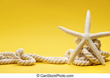 Starfish and rope on a plain yellow background