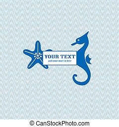 Starfish and seahorse waves background: blue white