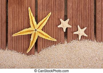 starfish and wood