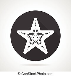 Starfish black round vector icon