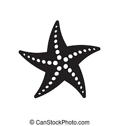 Black vector starfish icon isolated on white background