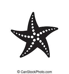 Starfish - Black vector starfish icon isolated on white...