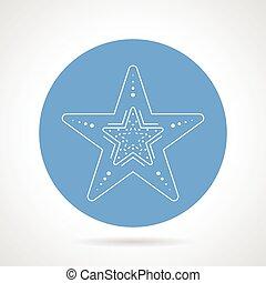 Starfish blue round vector icon