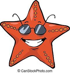 Starfish - Cartoon starfish in sunglasses smiling vector...