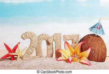 starfish, coco, sea., ano, novo, 2017, flores, inscrição