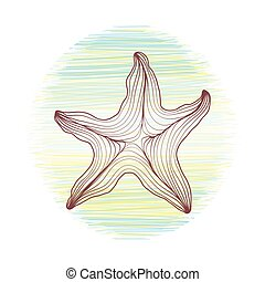 starfish contour of the lines. painted on a background of the sea and beach. vector illustration outline