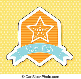 starfish over cute label, over yellow background. vector...