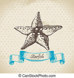 starfish., main, dessiné, illustration