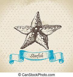 starfish., mano, dibujado, ilustración